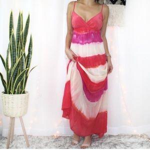 Gypsy 05 Tie Dye Pink 100% Silk Striped Maxi Dress